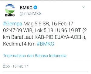 Gempa 5,5 SR guncang Pidie Jaya dirasakan hingga Banda Aceh