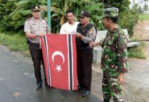 Dikibarkan OTK, tiga Bendera Bulan Bintang di Aceh Utara diturunkan
