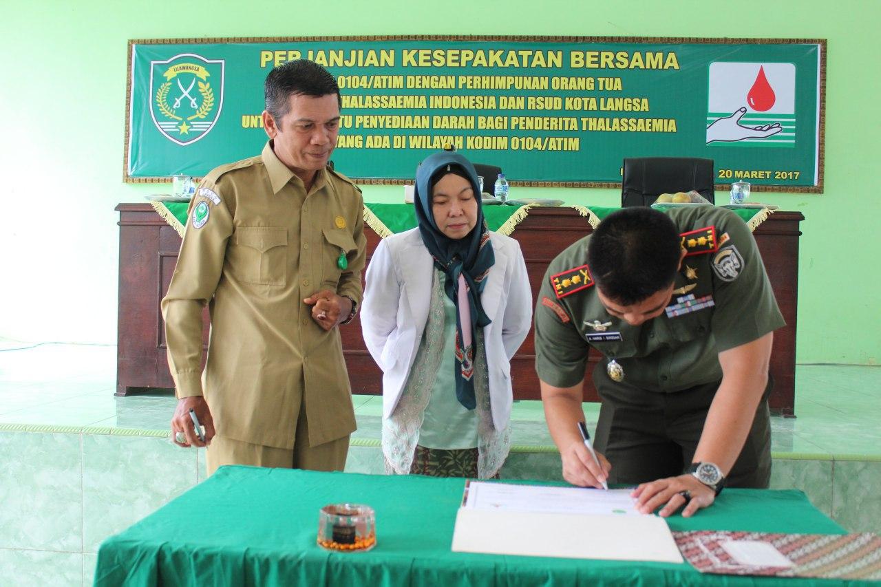 Bantu penderita Thalassaemia, Kodim Aceh Timur sepakati perjanjian dengan POPTI