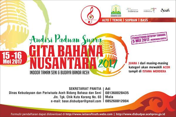 Disbudpar Aceh gelar audisi Paduan Suara Gita Bahana Nusantara 2017