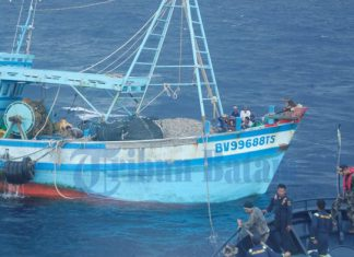 Kapal ikan Malaysia yang diamankan di Selat Malaka digiring ke Lampulo